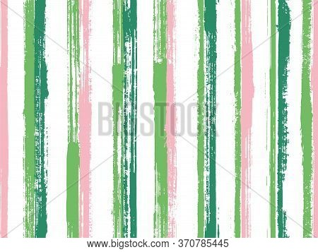 Pain Freehand Rough Stripes Vector Seamless Pattern. Beautiful Summer Fashion Design. Grainy Texture