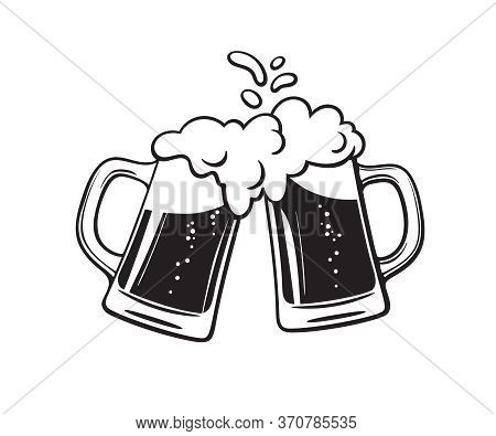 Two Toasting Beer Mugs, Cheers. Clinking Glass Tankards Full Of Beer And Splashed Foam. Black And Wh