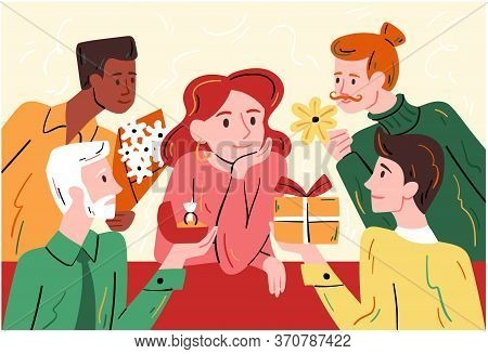 Beautiful Woman Popular Amongst The Men Seated At A Table Surrounded By Diverse Suitors With Gifts A
