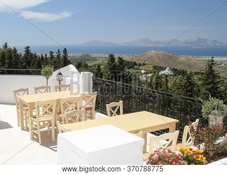 Panorama Of The Island Of Kos From The Veranda Of The Tavern. Greece