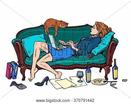 Beautiful Woman At Home With A Cat Working And Resting. Pop Art Retro Vector Illustration Kitsch Vin