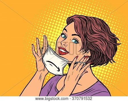 Woman Puts On A Medical Mask. Pop Art Retro Vector Illustration Vitch Vintage 50s 60s Style
