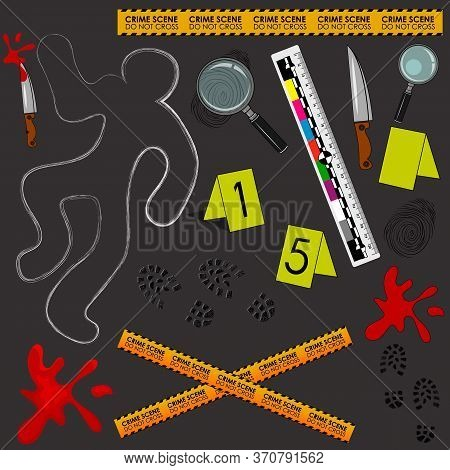 Crime Scene. Do Not Cross. Illustration Of A Murder Scene With Detective Tools And Evidence. The Out
