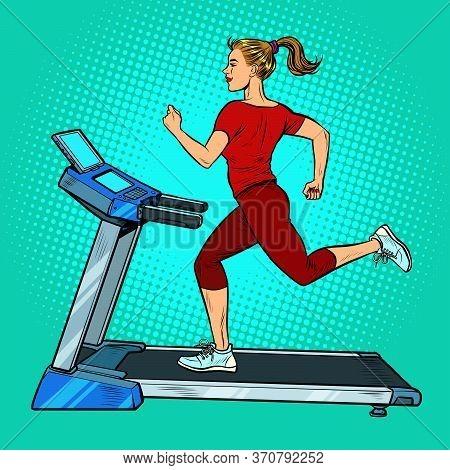 Treadmill, Sports Equipment For Training. Fitness Room. Pop Art Retro Vector Illustration Vitch Vint