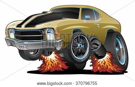 Classic American Seventies Muscle Car Cartoon, Gold With Black Stripes, Popping A Wheelie, Isolated