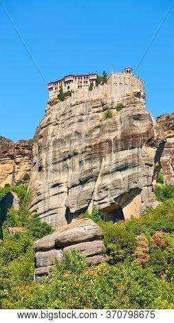 The Monastery of Varlaam on the very top of a cliff in Meteora, Greece - Greek landmark
