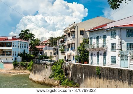 Traditional Spanish Colonial Houses In Casco Viejo, The Historic District Of Panama City In Central
