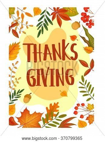 Gift Card Thanksgiving Day In Cartoon Style. Autumn Family Holiday Tradition. Thanksgiving Day Poste