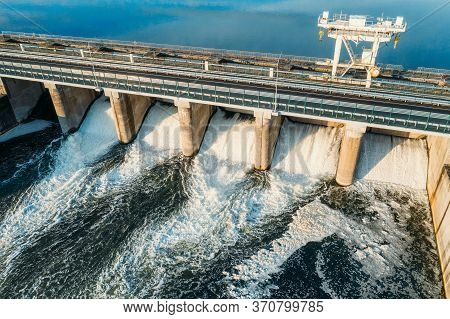 Hydroelectric Dam Gates, Hydro Power Station On River, Aerial View From Above.