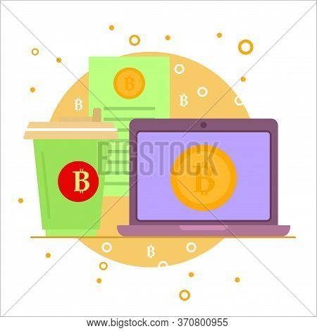 Cryptocurrency Process And Mining Icon. Flat Vector Illustration  In Crypto Theme. Crypto Currency L