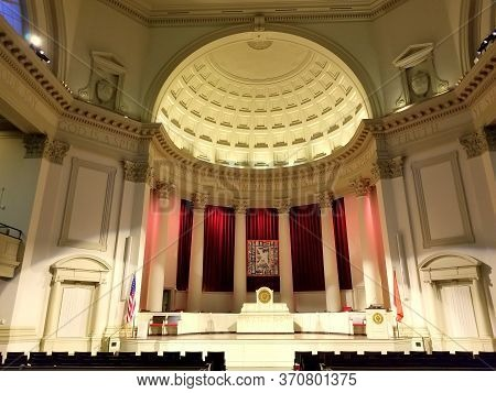 New York, U.s.a - September 29, 2019 - The View Inside Of The Hendricks Chapel Near Syracuse Univers