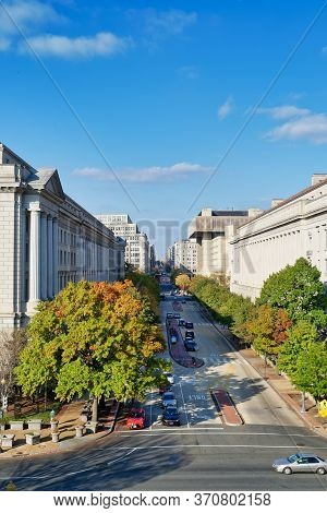 Washington, D.c., Usa - November 13, 2017: Elevated View Of The 10th Street Nw. Building Of The U.s.