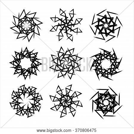 Set Of Black Sharp Spirals, Vector Stars, Abstact Signs With Tricky Structure From Square And Circul