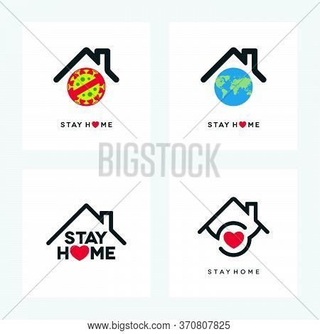 Coronavirus Covid-19 Pandemic Social Isolation Concept Design. Stay Home Icons Set With Globe World