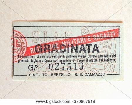 Turin - Jun 2020: Vintage Italian Cinema Ticket