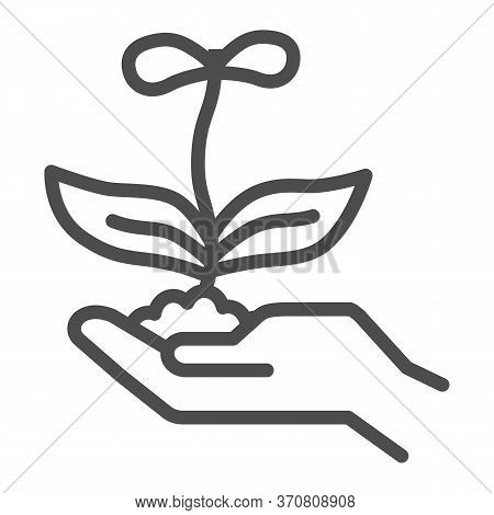 Young Flower With Two Petals In Hand Line Icon, Nature Concept, Spring Flower Blossom Sign On White