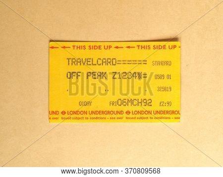 London - Jun 2020: Vintage London Underground Subway Ticket