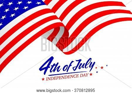 United States Of America 4th Of July, Independence Day. Calligraphic Fourth Of July With Flag. Vecto