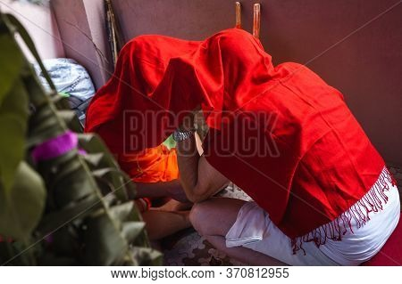 Hindu Holy Boy Learning Religious Gayatri Mantra From His Grandfather During Religioius Ceremony Bra