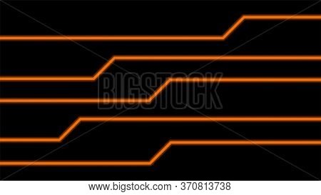 Line Glow Orange On Black For Background, Art Line Glowing Orange For Technology Concept, Neon Effec