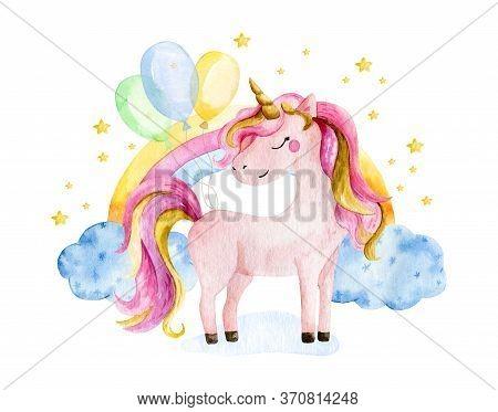 Isolated Cute Watercolor Unicorn And Rainbow Clipart. Nursery Unicorns Illustration. Princess Unicor