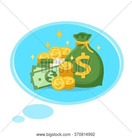 Money And Bubble For Dream And Success Concept, Illustration Wealth Money And Rich For Dream Idea Su