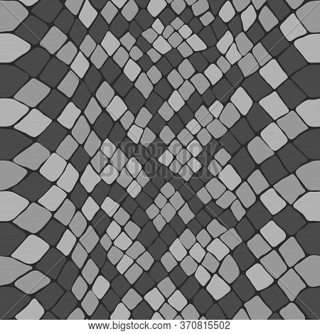 Snake Skin Scaly Seamless Drawing. Black And White Reptile Texture. Animal Print. Vector Cobra Monoc