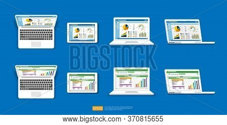 Web Statistics Analytic Charts On Laptop Screen Icon Set. Flat Vector Infographic And Spreadsheet Tr