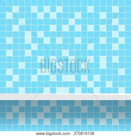 Tile Mosaic Light Blue Pattern With Shelf For Background, Modern Square Mosaic Grid Pattern For Deco