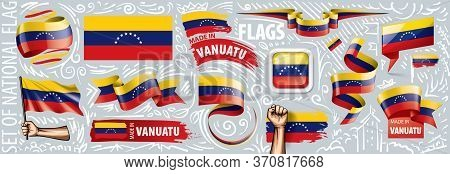 Vector Set Of The National Flag Of Venezuela In Various Creative Designs