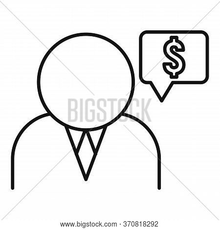 Financial Advisor Icon. Outline Financial Advisor Vector Icon For Web Design Isolated On White Backg