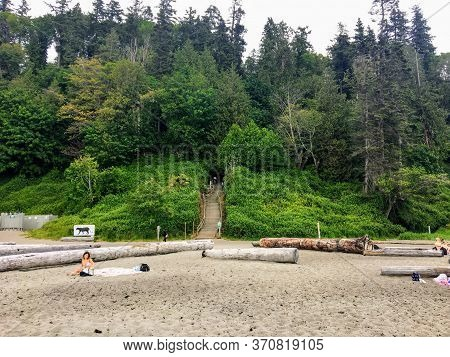Vancouver, British Columbia, Canada - May 20th, 2020: A View Of The Popular Wreck Beach, A Famous Nu