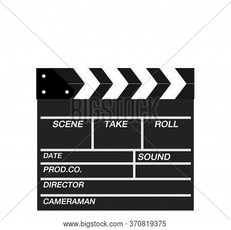 Movie Clapper Isolated On White.shown Slate Board. Use The Colors White And Black.realistic Movie Cl
