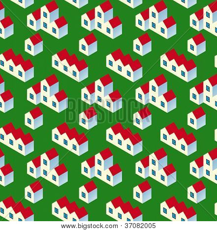 Real Estate Seamless Pattern. White Village Buildings with Red Roof on Green Background. Vector Illustration