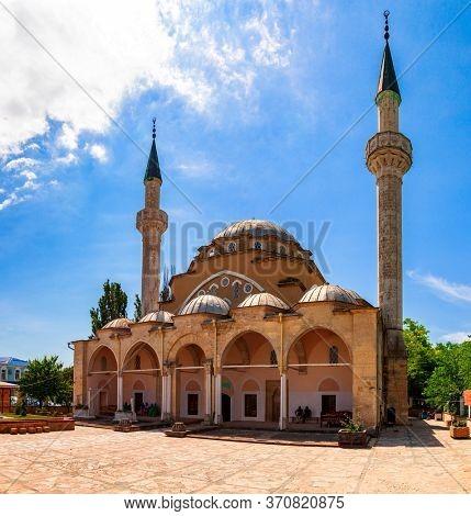 Evpatoria, Crimea, July 09, 2019: Mechet Jooma Jami, oldest muslim shrine in Crimea