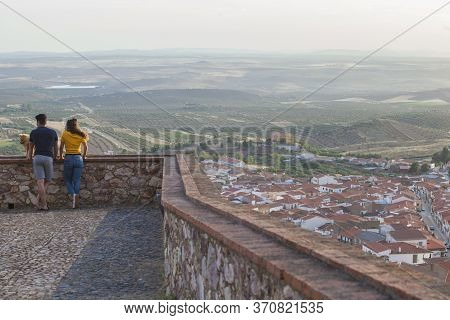 Hornachos, Spain - May 31st 2020: Young Couple Enjoying Tierra De Barros Panoramic From Viewpoint, H