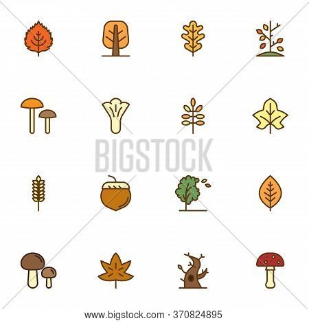 Autumn Related Filled Outline Icons Set, Line Vector Symbol Collection, Autumn Season Linearly Color
