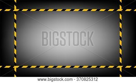 Caution Tape Line Yellow Black Stripe On Black Gradient Background, Warning Space With Ribbon Tape S
