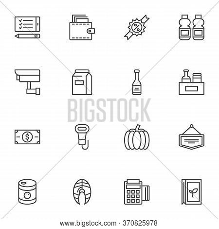 Grocery Related Line Icons Set, Outline Vector Symbol Collection, Linear Style Pictogram Pack. Signs