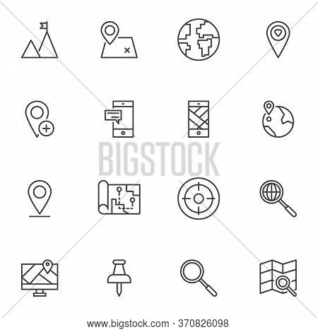 Cartography Line Icons Set, Geo Location Outline Vector Symbol Collection, Linear Style Pictogram Pa