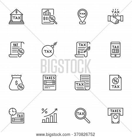 Tax, Vat Line Icons Set, Outline Vector Symbol Collection, Linear Style Pictogram Pack. Signs, Logo