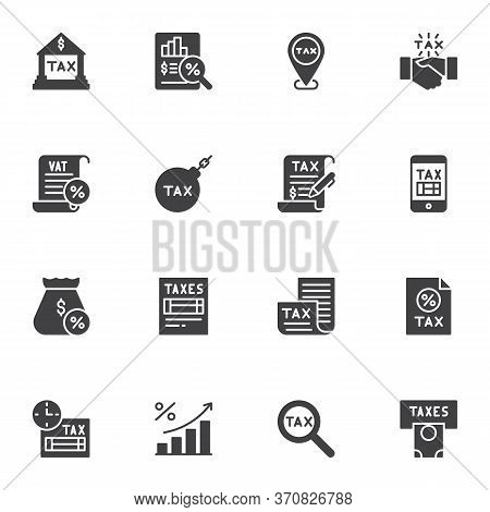 Tax, Vat Vector Icons Set, Modern Solid Symbol Collection, Filled Style Pictogram Pack. Signs, Logo