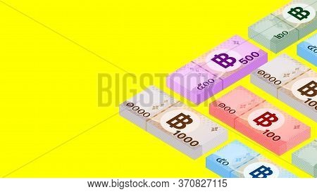Pile Banknote Money Thai Baht (1,000, 500, 100, 50, 20 Type), Stack Currency Money Thb, Paper Money