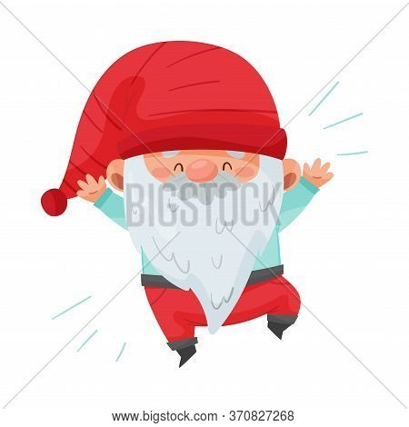 Fantastic Gnome Character With White Beard And Red Pointed Hat Jumping With Joy Vector Illustration