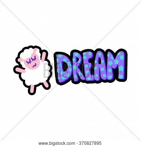 Sheep With Dream Lettering Stitched Frame Patch
