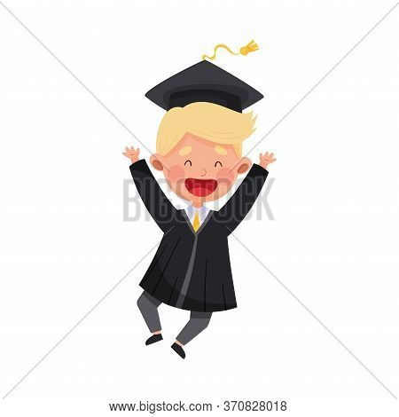 Delighted Boy Character In Academic Gown And Square Cap Cheering About Graduation Ceremony Vector Il