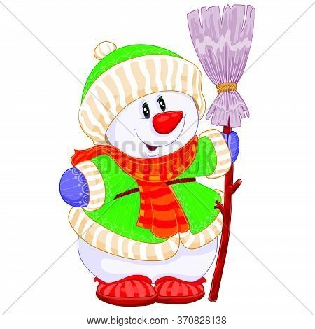 Cute Snowman In A Knitted Hat, In A Knitted Jacket And With A Knitted Scarf Holds A Broom In His Han