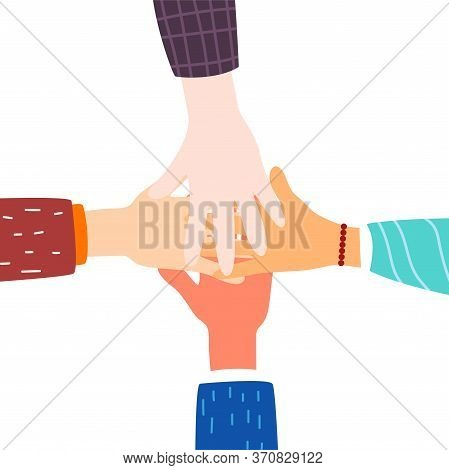 Friendship Of Peoples. Hands. Friendship Concept. Modern Flat Style. For Your Design.
