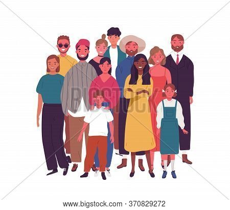 Crowd Of Smiling Diverse People Standing Together Vector Flat Illustration. Group Of Multiethnic Joy