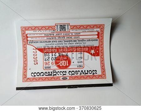 Small White And Red Color Bengaluru Mudranalaya/the Bangalore Press Kannada 2020 Calendar Isolated I